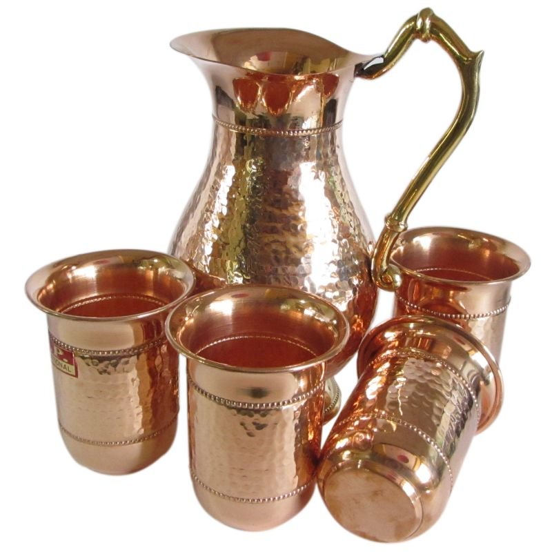 COPPER JUG AND GLASS SET
